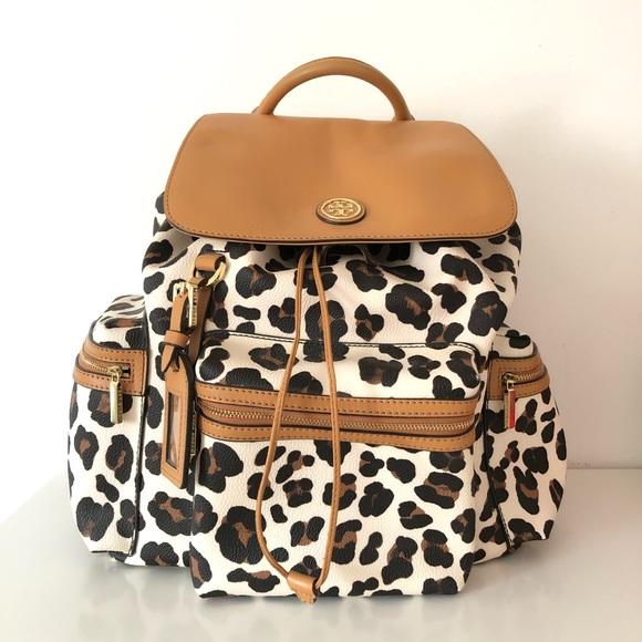e9f3a089bb9a ... Tory Burch Kerrington Leopard Backpack. M 5c7f5f84aa57199fd2cc55cd